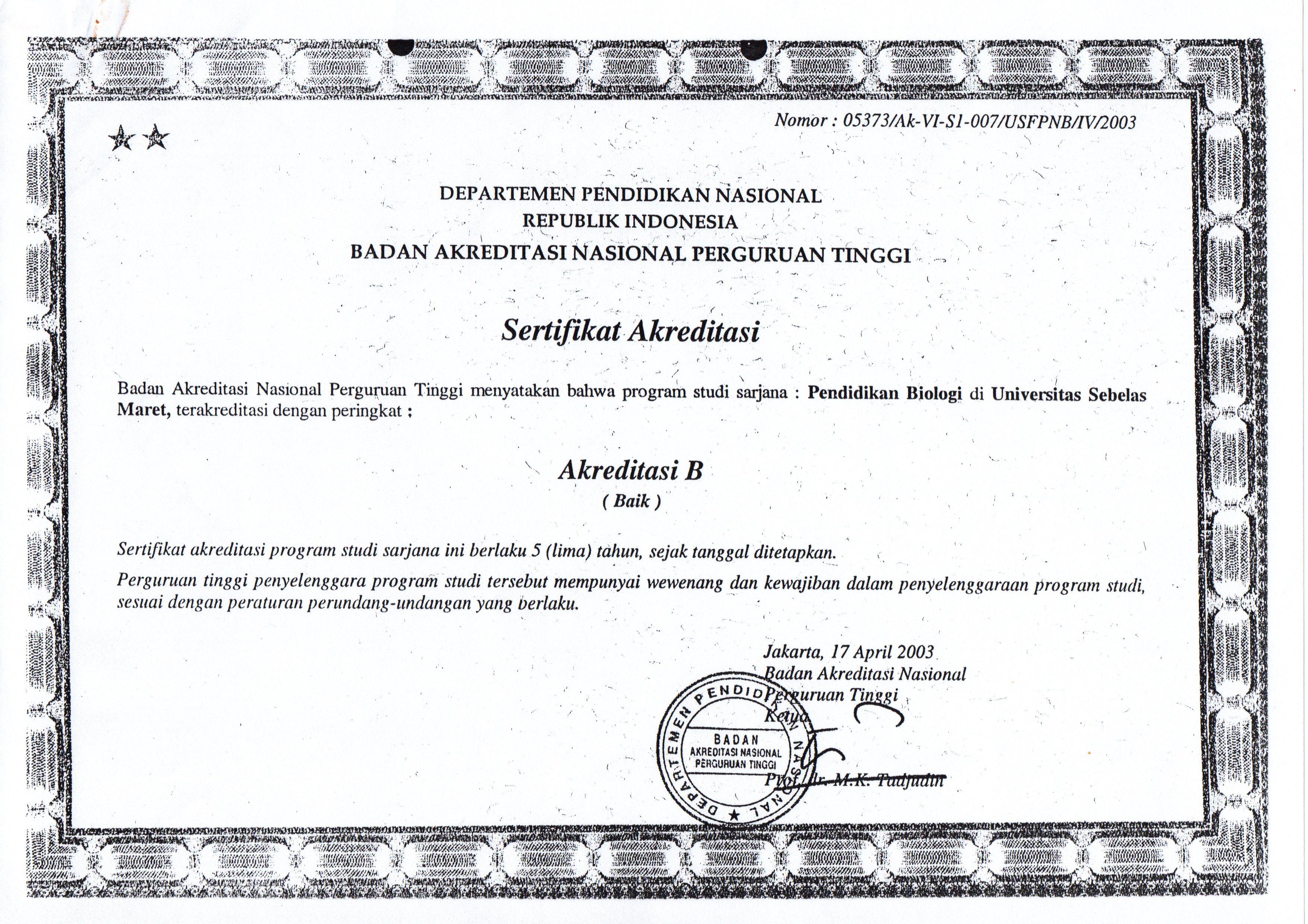 1. SERTIF AKREDITASI PRODI 2003-2008